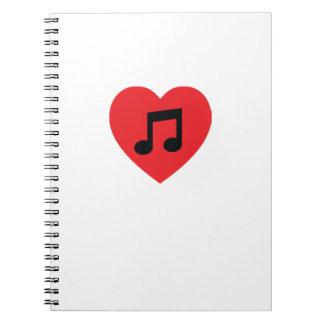 Music Note Heart Spiral Notebook