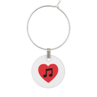 Music Note Heart Wine Charm