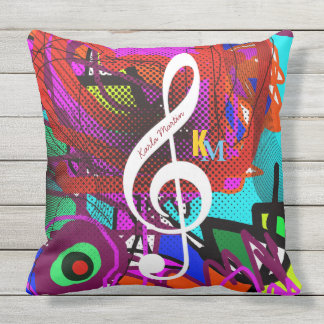 music note on abstract cushion