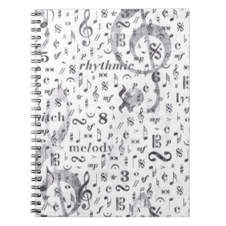 Music Note Pattern Music Theme Notebook