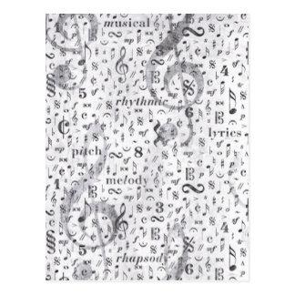 Music Note Pattern Music Theme Postcard