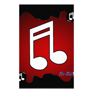 MUSIC NOTE RED BACKGROUND PRODUCTS PERSONALIZED STATIONERY