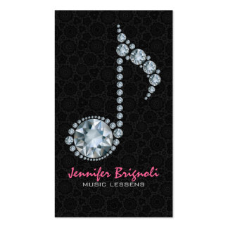 Music Note White Diamonds Over Black Pack Of Standard Business Cards