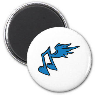 music note with wings 6 cm round magnet