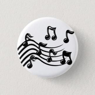 music notes 3 cm round badge