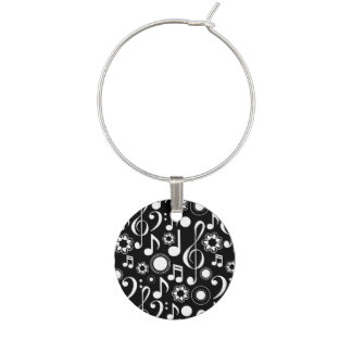 Music Notes and Clefs Wine Glass Charm