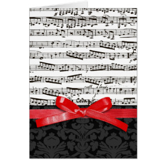 Music notes and faux red ribbon