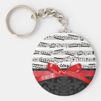 Music notes and faux red ribbon basic round button key ring