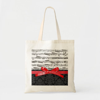 Music notes and faux red ribbon budget tote bag
