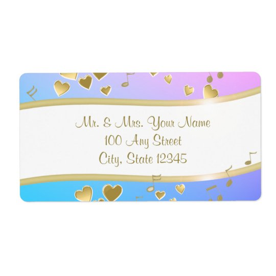 Music Notes and Gold Hearts Shipping Label