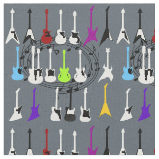 Music Notes and Guitar Print Fabric Material