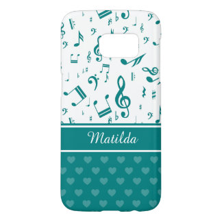 Music Notes and Hearts Pattern Teal and White
