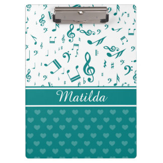 Music Notes and Hearts Pattern Teal and White Clipboard