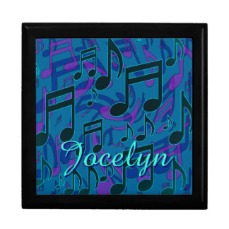 Music Notes Aqua Blue Green Purple Name Gift Box