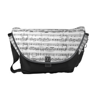 music notes b&w pattern messenger bag