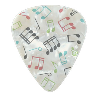 Music Notes Background Pearl Celluloid Guitar Pick