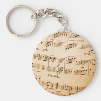 Music notes basic round button key ring