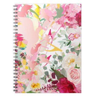 Music Notes, Birds and Flowers Notebooks