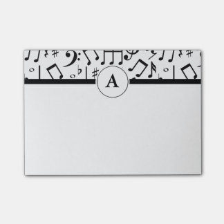 Music Notes Black and White Monogram