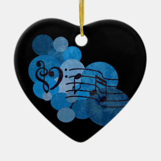 Music notes & blue polka dots ornament decoration