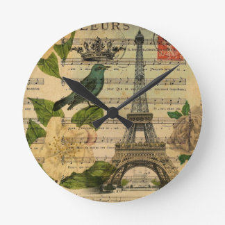 music notes camellia french paris eiffel tower round clock