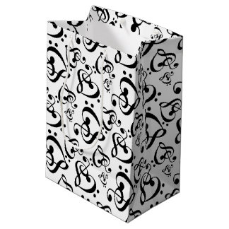 Music Notes Clef Hearts Medium Gift Bag