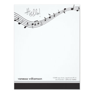 Music Notes Custom Flat Note Cards (black) 11 Cm X 14 Cm Invitation Card