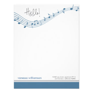 Music Notes Custom Flat Note Cards (blue) Custom Announcements