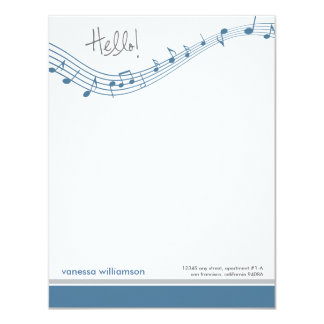 Music Notes Custom Flat Note Cards (blue) 11 Cm X 14 Cm Invitation Card