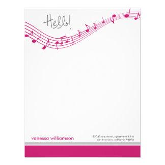Music Notes Custom Flat Note Cards (fuchsia) Personalized Invitation