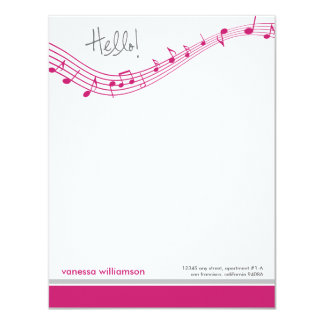 Music Notes Custom Flat Note Cards (fuchsia) 11 Cm X 14 Cm Invitation Card