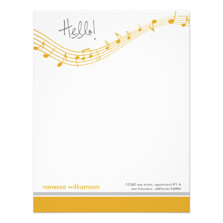 Music Notes Custom Flat Note Cards (gold) Invites