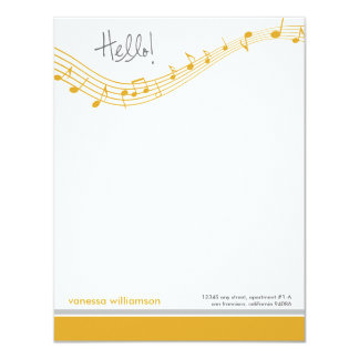 Music Notes Custom Flat Note Cards (gold) 11 Cm X 14 Cm Invitation Card