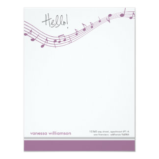 Music Notes Custom Flat Note Cards (lavender) 11 Cm X 14 Cm Invitation Card