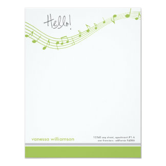Music Notes Custom Flat Note Cards (lime) 11 Cm X 14 Cm Invitation Card