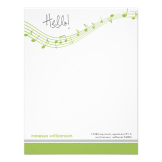 Music Notes Custom Flat Note Cards (lime) Invitation