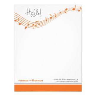 Music Notes Custom Flat Note Cards (orange) Personalized Invitation