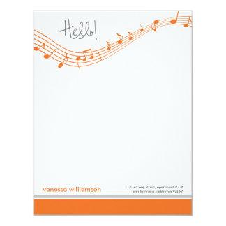 Music Notes Custom Flat Note Cards (orange) 11 Cm X 14 Cm Invitation Card