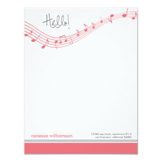 Music Notes Custom Flat Note Cards (pink) 11 Cm X 14 Cm Invitation Card