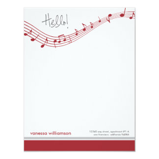 Music Notes Custom Flat Note Cards (red) 11 Cm X 14 Cm Invitation Card