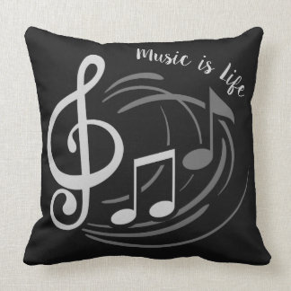 Music Notes custom text throw pillows