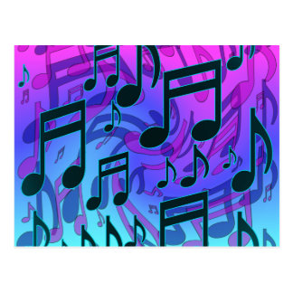 Music Notes Dreamy Musical Pattern Aqua Blue Postcards