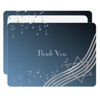 Music Notes Flat Card Bar Mitzvah Thank You Silver