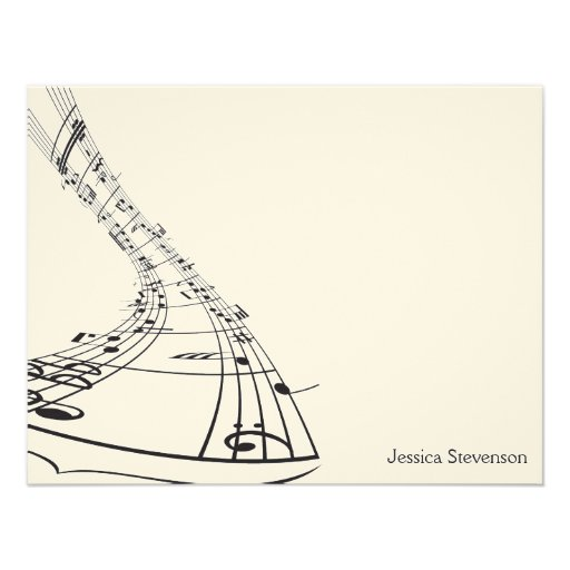 Music Notes Flat Note Card (black) Personalized Invitation