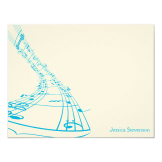 Music Notes Flat Note Card (blue) 11 Cm X 14 Cm Invitation Card
