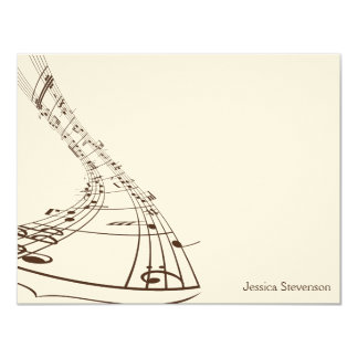 Music Notes Flat Note Card (chocolate) 11 Cm X 14 Cm Invitation Card