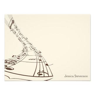 Music Notes Flat Note Card (chocolate) Custom Invites