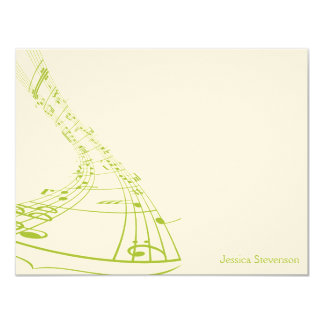 Music Notes Flat Note Card (green) 11 Cm X 14 Cm Invitation Card