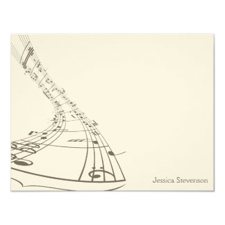 Music Notes Flat Note Card (grey) 11 Cm X 14 Cm Invitation Card