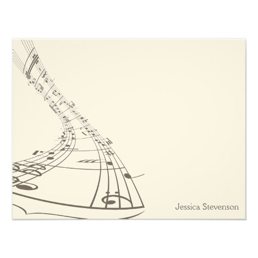 Music Notes Flat Note Card (grey) Personalized Invite